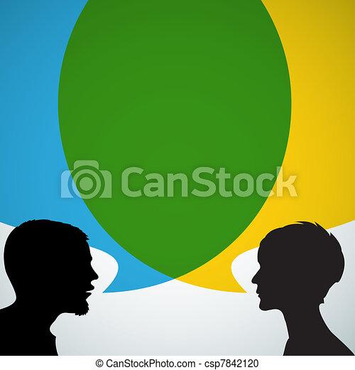 silhouettes, résumé, interlocuteurs - csp7842120