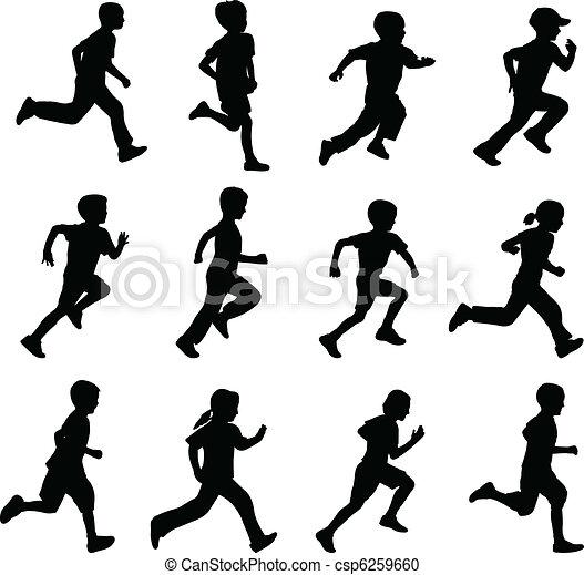 silhouettes, rennende , kinderen - csp6259660