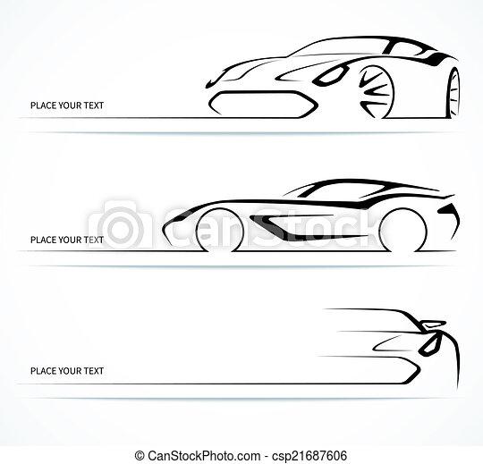 silhouettes., resumen, conjunto, lineal, coche - csp21687606