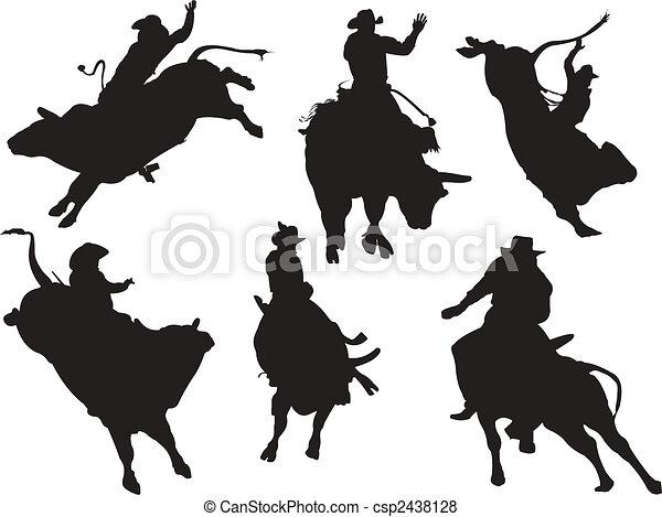 silhouettes., rodeo, vettore, sei, illustrazione - csp2438128