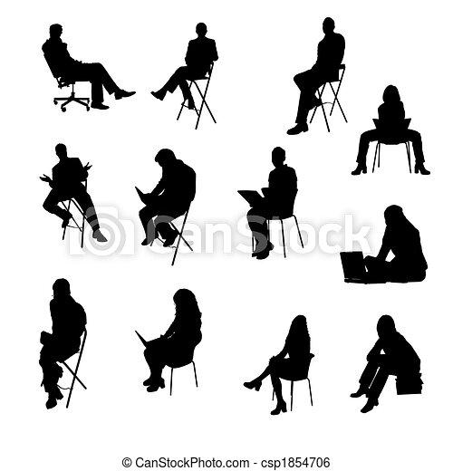 silhouettes, séance, professionnels - csp1854706