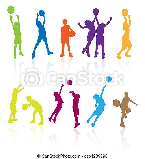 silhouettes, sauter, enfants - csp4289398