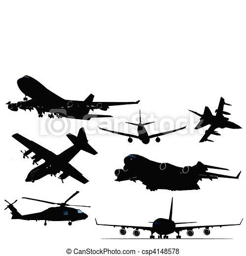 silhouettes sept noir blanc avion sept silhouettes illustration vecteur noir blanc. Black Bedroom Furniture Sets. Home Design Ideas