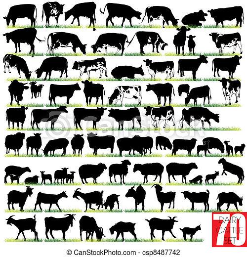 silhouettes, set, zuivelbedrijf vee - csp8487742