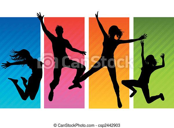 silhouettes, skákání, národ - csp2442903