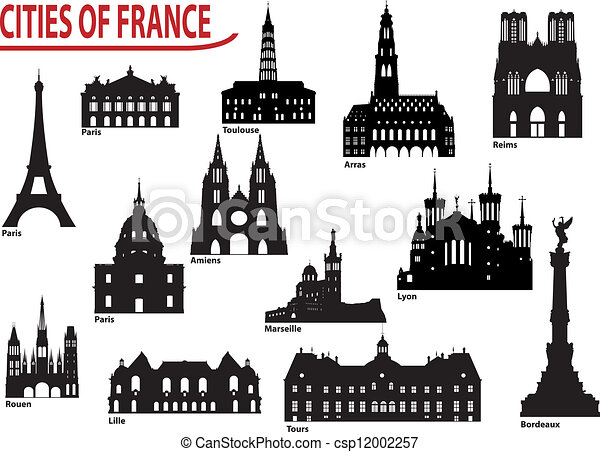 Silhouettes Stader Frankrike Byggnad Stad Satta Beromd Mest France Vektor Illustrationer