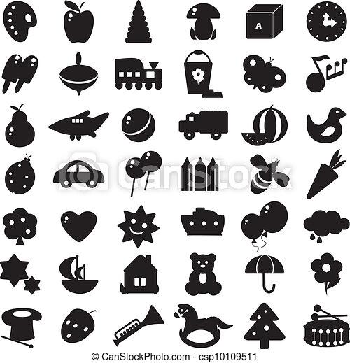 silhouettes, svart, toys - csp10109511
