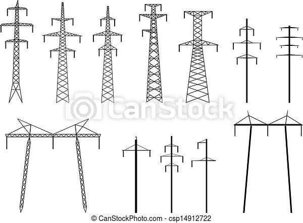 silhouettes, transmission, pylônes - csp14912722