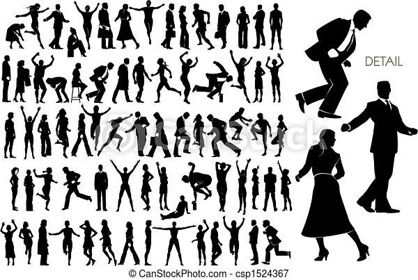 silhouettes, vecteur, 73, gens - csp1524367
