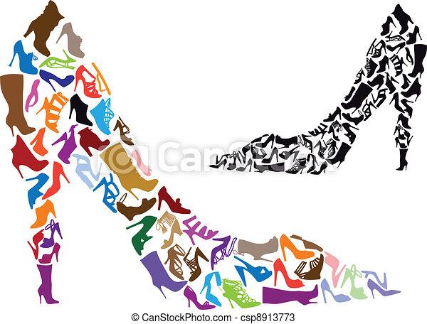 silhouettes, vecteur, chaussure - csp8913773