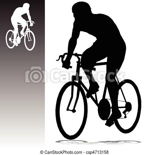 silhouettes, vecteur, cyclisme, homme - csp4713158