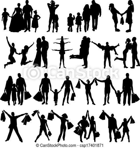 silhouettes, vecteur, famille, heureux - csp17401871