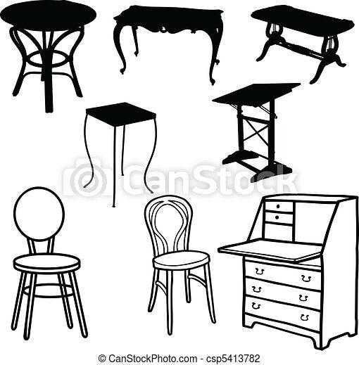 silhouettes, vecteur, meubles - csp5413782