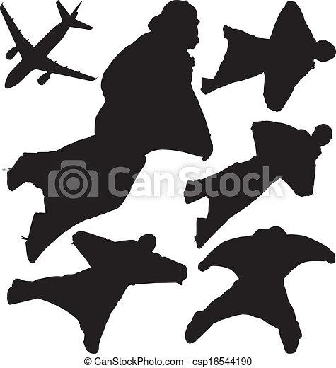 Silhouettes, vecteur, skydivers. Wingsuit, posé couches ...