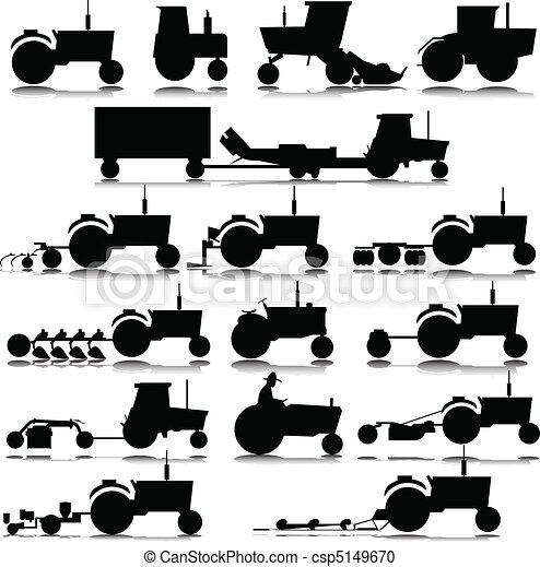 silhouettes, vecteur, tracteur - csp5149670