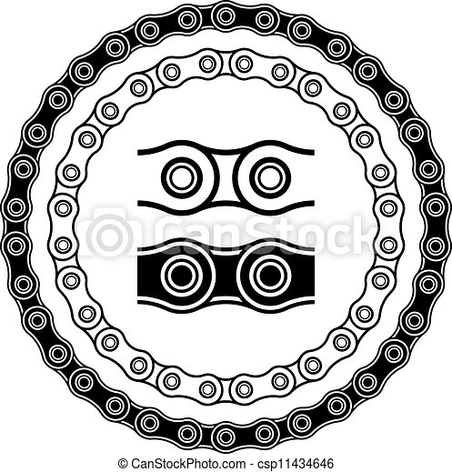 silhouettes, vecteur, vélo, seamless, chaîne - csp11434646