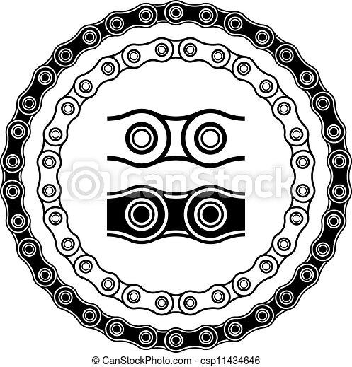 silhouettes, vektor, cykel, seamless, kedja - csp11434646