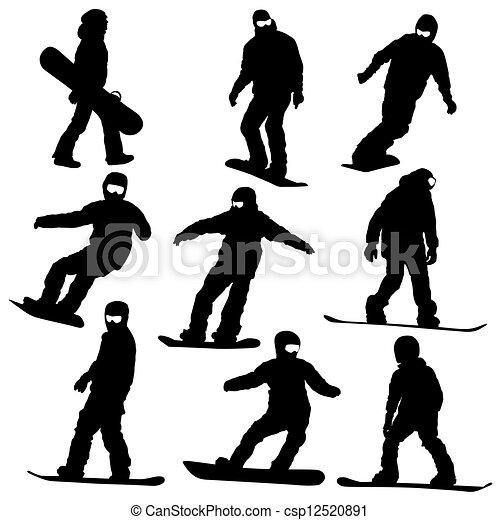 silhouettes., vektor, satz, snowboarders, illustration. - csp12520891