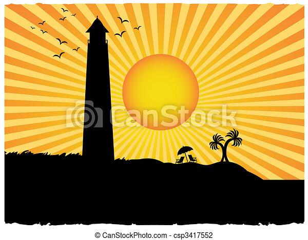 silhueta farol, sol, grunge, praia, raio - csp3417552