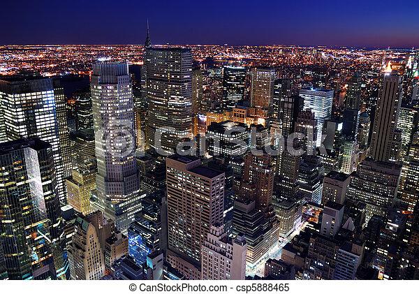 silhueta urbana, aéreo, vista cidade - csp5888465