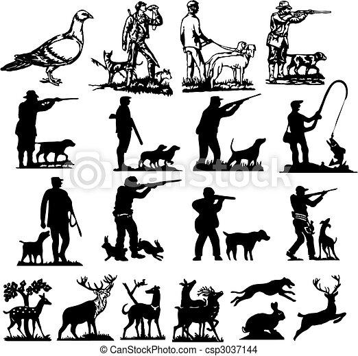 silhuetas, caça, cobrança - csp3037144