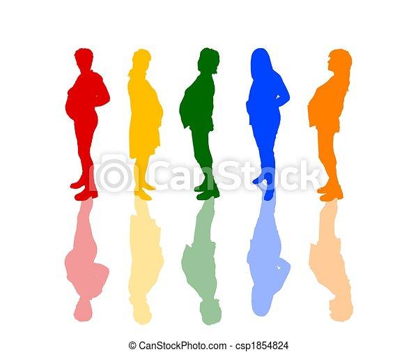 silhuetas, colorido, grávida - csp1854824