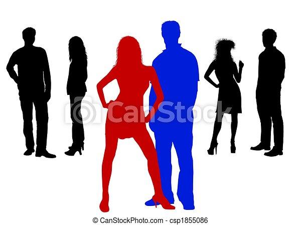 silhuetas, colorido, pessoas - csp1855086