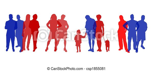 silhuetas, colorido, pessoas - csp1855081