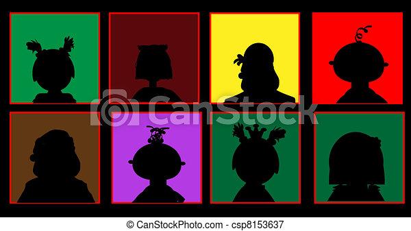 silhuetas, colorido, pessoas - csp8153637