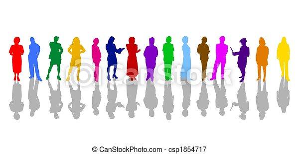 silhuetas, colorido, pessoas negócio - csp1854717