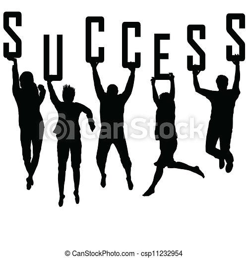 silhuetas, conceito, jovem, sucesso, equipe - csp11232954