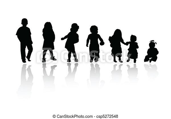 silhuetas, crianças, - - csp5272548