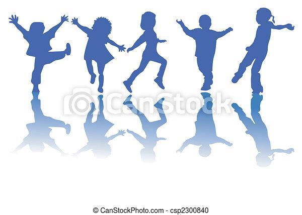 silhuetas, crianças, feliz - csp2300840