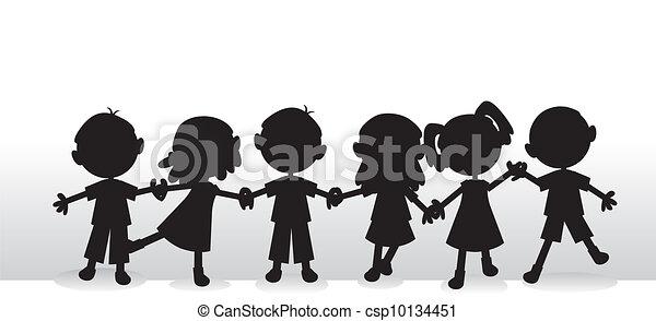 silhuetas, crianças, fundo - csp10134451