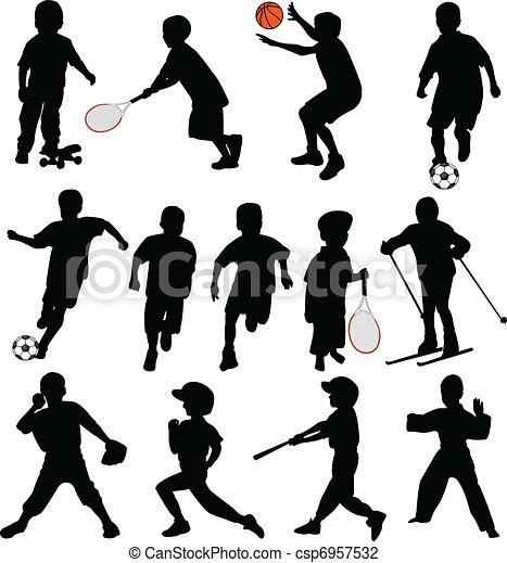 silhuetas, desporto, crianças - csp6957532