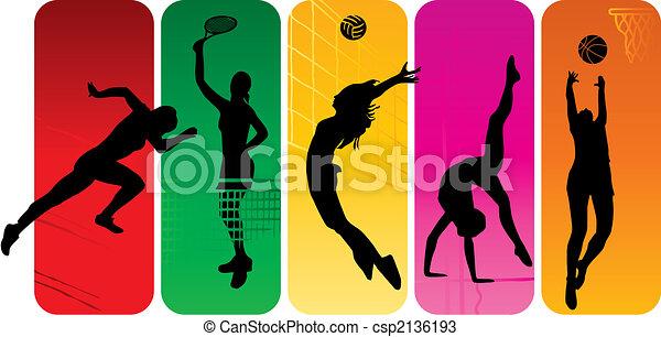 silhuetas, desporto - csp2136193