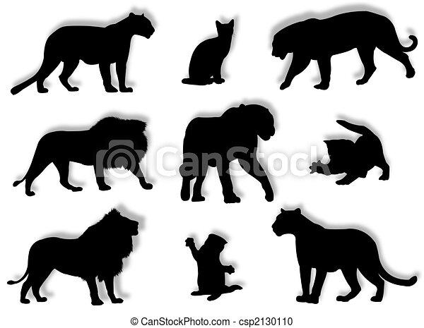 silhuetas felino poses diferente felino atitudes silhuetas