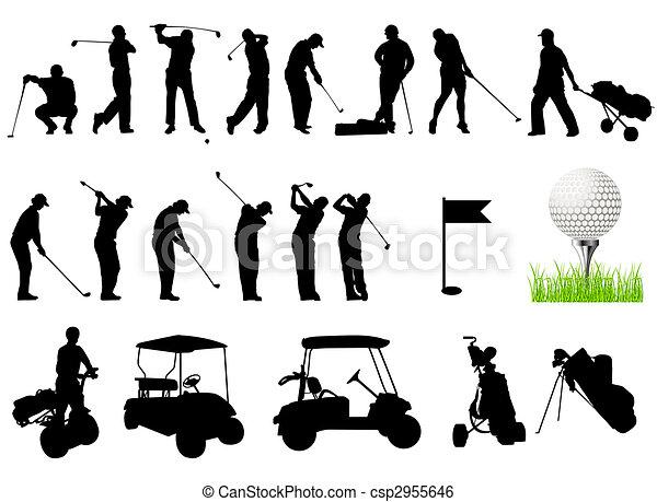 silhuetas, golfe, homens, tocando - csp2955646