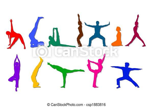 silhuetas, ioga, colorido - csp1883816