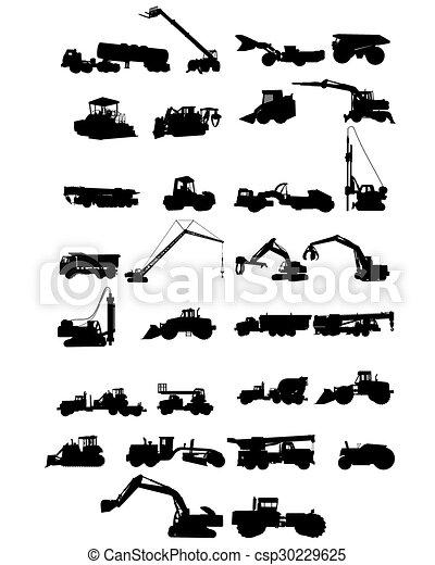 silhuetas, maquinaria construção - csp30229625
