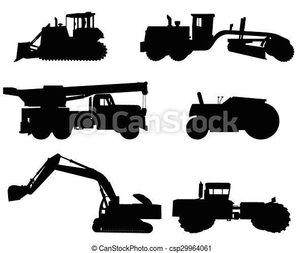 silhuetas, maquinaria construção - csp29964061