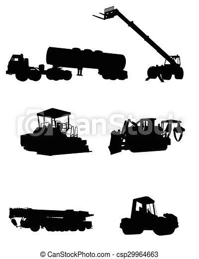 silhuetas, maquinaria construção - csp29964663