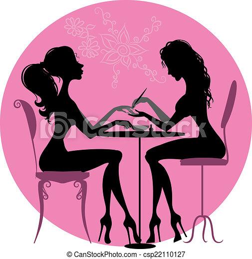 silhuetas, meninas, salão, beleza - csp22110127