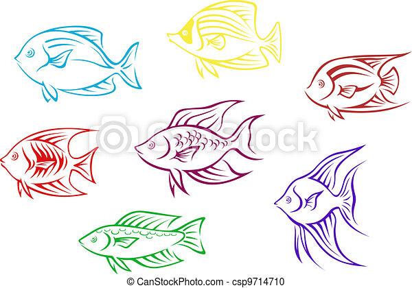 silhuetas, peixe, aquário - csp9714710