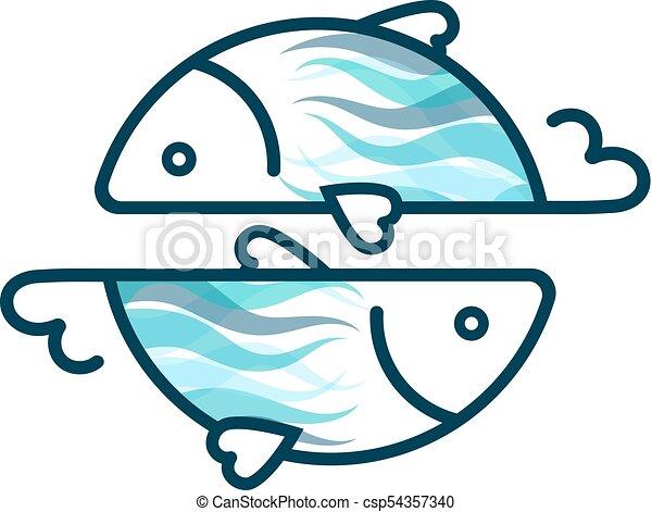silhuetas, peixe, dois - csp54357340