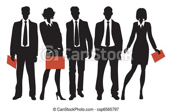silhuetas, pessoas negócio - csp6565797
