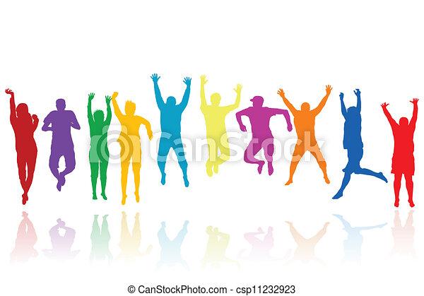 silhuetas, pular, grupo, jovens - csp11232923