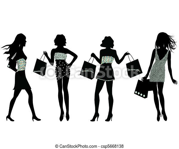 silhuetas, shopping, mulheres - csp5668138