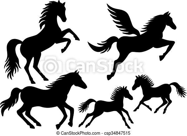 silhuetas, vetorial, cavalo - csp34847515