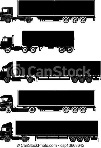 silhuetas, vetorial, jogo, caminhões - csp13663642